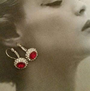 Pierced Earrings, Red with Rhinestones